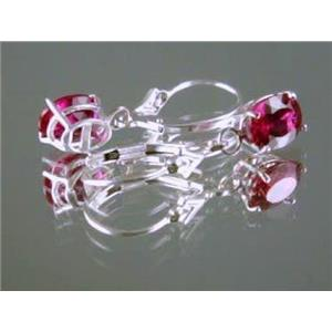 Created Ruby, 925 Sterling Silver Earrings, SE007
