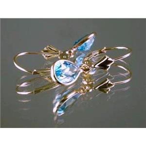 E021, Swiss Blue Topaz, 14k Gold Earringss