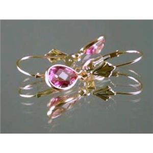 E021, Pure Pink Topaz, 14k Gold Earringss