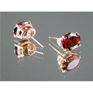 E002, Garnet CZ 14k Gold Earrings, 3 cts