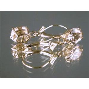 E007, Champagne CZ 14k Gold Earrings, 3 cts