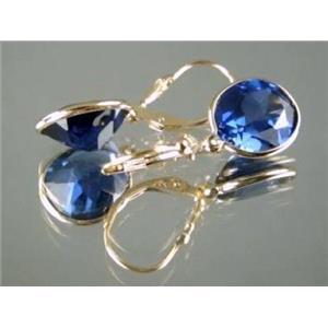 E201, Lab Sapphire, 14k Gold Earrings