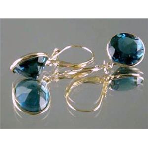E201, London Blue Topaz, 14k Gold Earrings