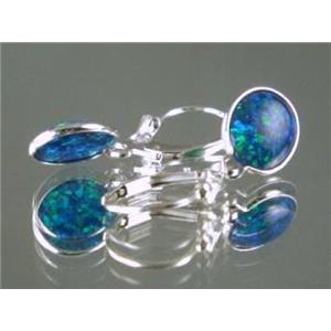 SE101, Created Blue/Green Opal 925 Sterling Silver Earrings