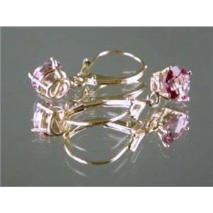 E017, Pure Pink Topaz, 14k Gold Earrings