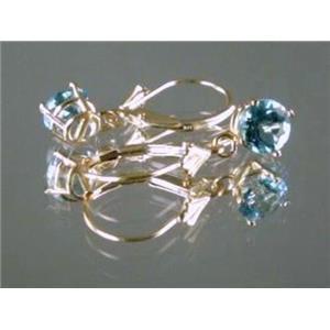 E017, Swiss Blue Topaz, 14k Gold Earrings