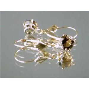 E017, Smoky Quartz, 14k Gold Earrings