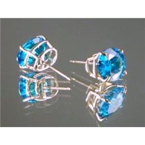 Swiss Blue CZ 14k Gold Earrings, E102