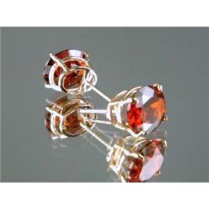 E102, Garnet CZ 14k Gold Earrings