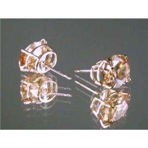E102, Champagne CZ 14k Gold Earrings