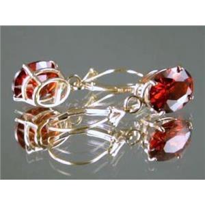 E107, Garnet CZ 14k Gold Earrings