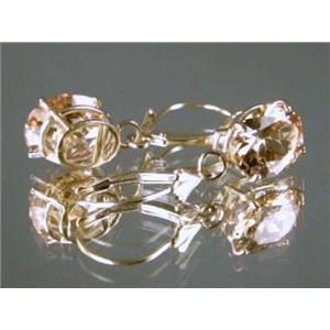 E107, Champagne CZ 14k Gold Earrings