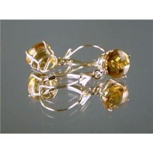 E117, Citrine, 14k Gold Earrings