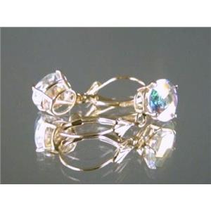 E117, Mercury Mist Topaz, 14k Gold Earrings