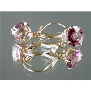 E117, Pure Pink Topaz, 14k Gold Earrings