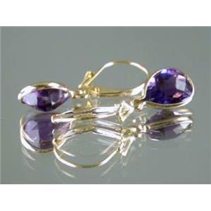 E121, Amethyst 14k Gold Earrings