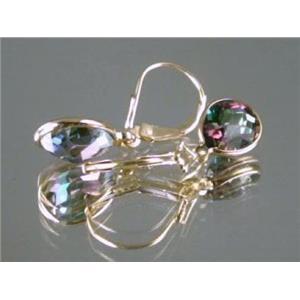 E121, Mystic Fire Topaz, 14k Gold Earrings