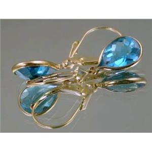E121, Swiss Blue Topaz 14k Gold Earrings