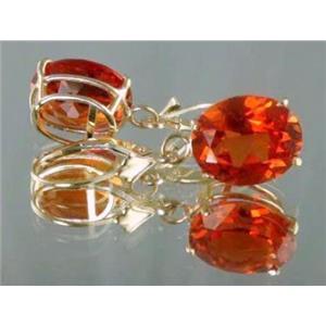 E207, Padparadsha Sapphire, 14k Gold Earrings