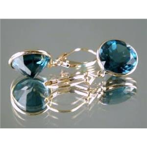 E211, London Blue Topaz 14k Gold Earrings