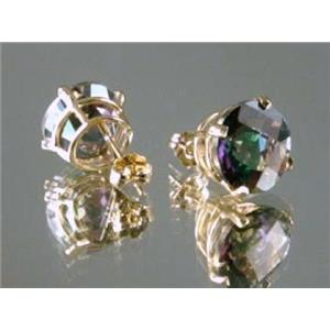 E212, Mystic Fire Topaz, 14k Gold Earrings