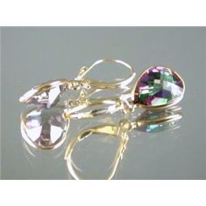 E221, Mystic Fire Topaz, 14k Gold Earrings