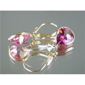 E221, Pure Pink Topaz, 14k Gold Earrings