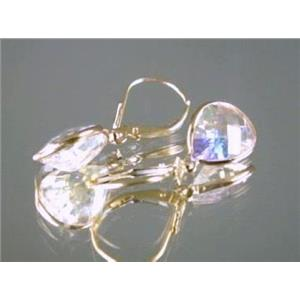 E221, Mercury Mist Topaz, 14k Gold Earrings