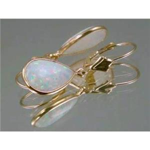 E221, White Created Opal, 14k Gold Earrings