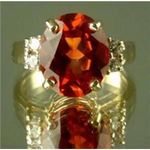 R244, Created Padparadsha Sapphire Ring