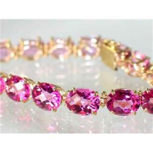 B003, Pure Pink Topaz Gold Bracelet