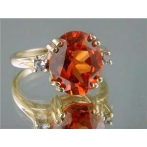 R150, Created Padparadsha Sapphire Gold Ring