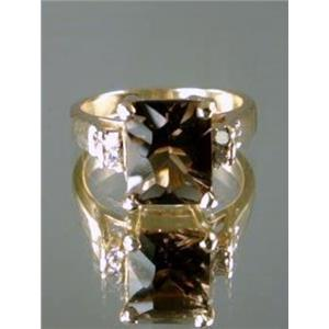 R221, Smoky Quartz Gold Ring