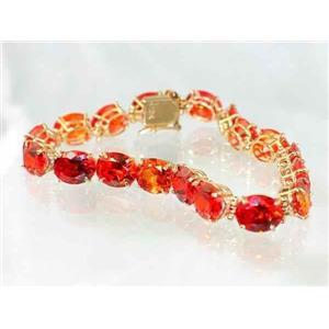 B003, Created Padparadsha Sapphire, Gold Bracelet