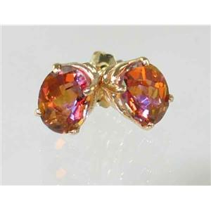 E002, Twilight Fire Topaz, 14k Gold Earrings