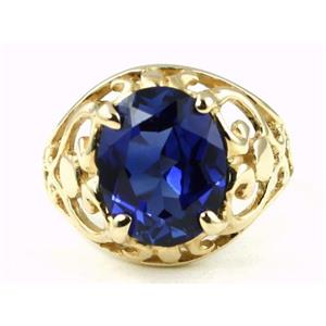 R004, Created Blue Sapphire, Gold Ring