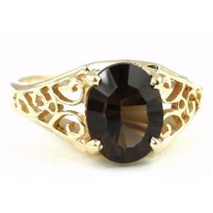 R005, Smoky Quartz, Gold Ring