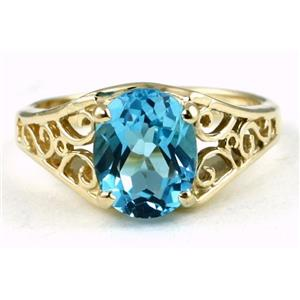 R005, Swiss Blue Topaz, Gold Ring