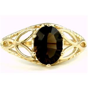 R137, Smoky Quartz, Gold Ring