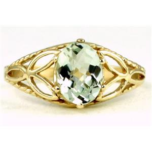 R137, Green Amethyst, Gold Ring