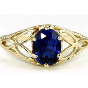 R137, Created Blue Sapphire, Gold Ring
