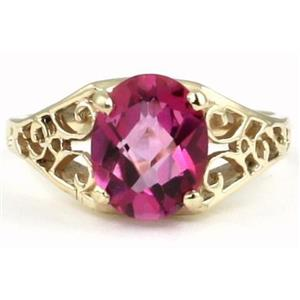 R005, Pure Pink Topaz, Gold Ring