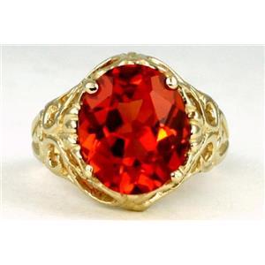 R114, Padparasha CZ, Gold Ring