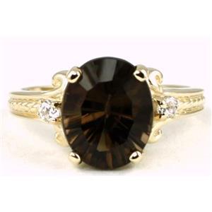 R136, Smoky Quartz (Quantum Cut), Gold Ring