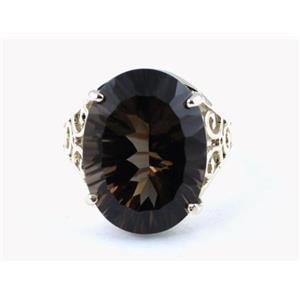 SR049, Smoky Quartz, 925 Sterling Silver Ring
