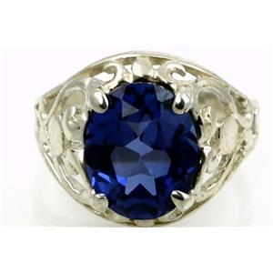 Created Blue Sapphire Sterling Silver Ring, SR004