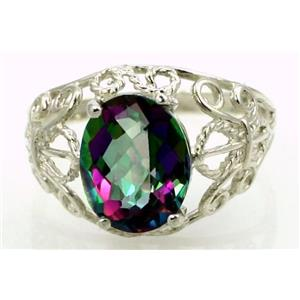 SR162, Mystic Fire Topaz, 925 Sterling Silver Ring