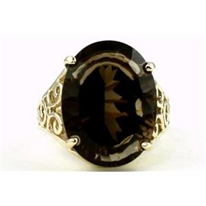 R049, Smoky Quartz, Gold Ring
