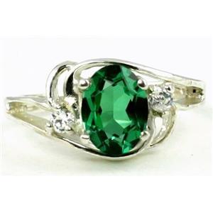 SR176, Russian Nanocrystal Emerald, 925 Sterling Silver Ring