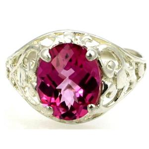 SR004, Pure Pink Topaz, 925 Sterling Silver Ring